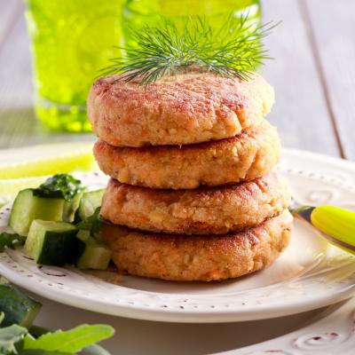 Salmon Cakes with Vegan Dill Sauce